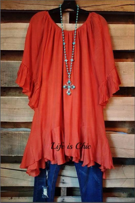 BOHO SOUL SWING COMFY OVERSIZED DRESS IN RUST [product vendor] - Life is Chic Boutique