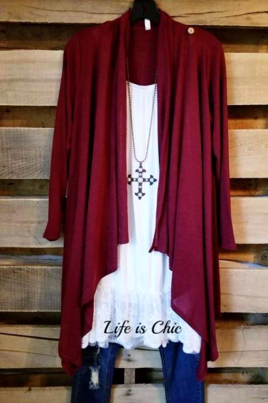 JUST LIKE THAT A CARDIGAN SWEATER - BURGUNDY [product vendor] - Life is Chic Boutique