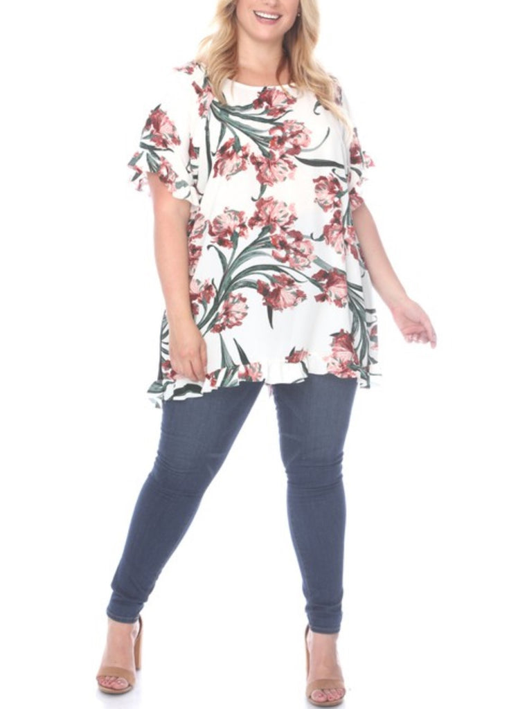 WISHFUL WANDERINGS TOP FLORAL IN IVORY
