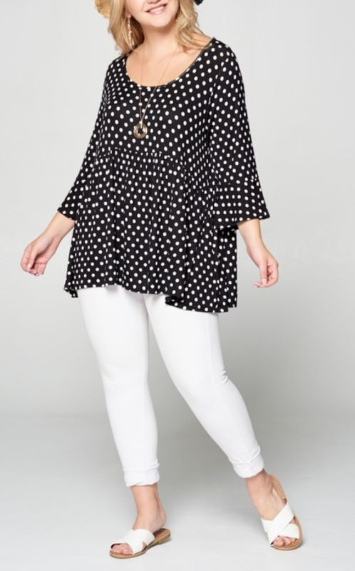 ALWAYS ON MY HEART POLKA DOT BABYDOLL IN BLACK & WHITE