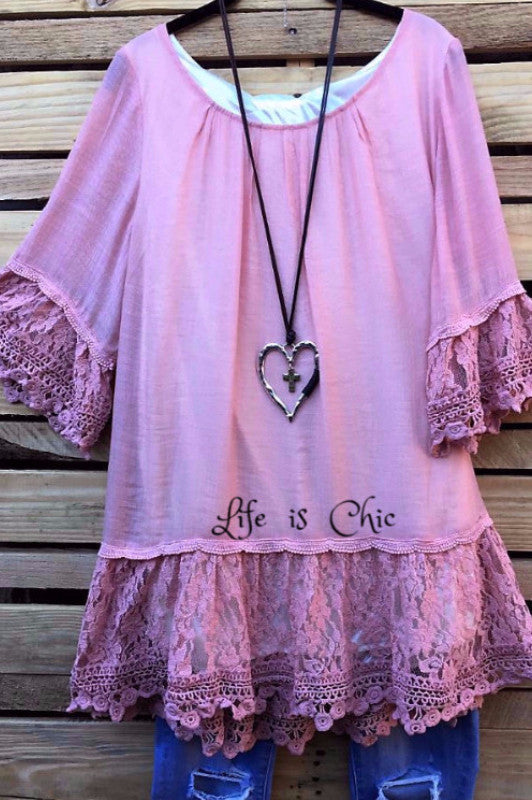 VINTAGE INSPIRED LACE TUNIC IN MAUVE [product vendor] - Life is Chic Boutique