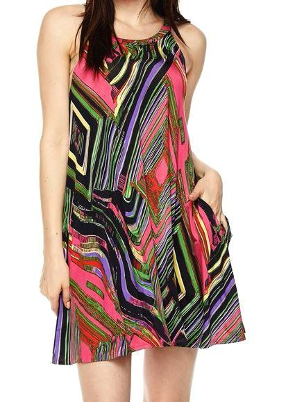 RETRO PRINT INFLUENCES JERSEY TUNIC PINK MULTI [product vendor] - Life is Chic Boutique