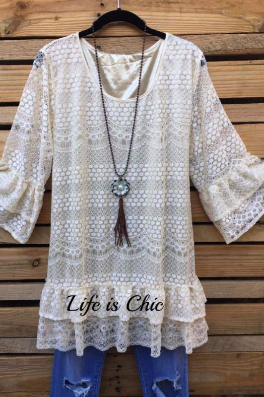 PRETTY HEART LACE TUNIC - BEIGE [product vendor] - Life is Chic Boutique