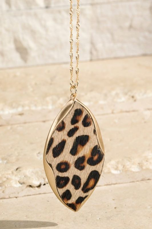 Genuine Leather Pendant Necklace Leopard Print