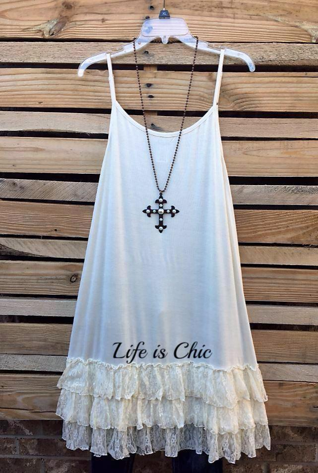 LOVE OF MY LIFE LACE SLIP CAMISOLE DRESS IN CREAM [product vendor] - Life is Chic Boutique