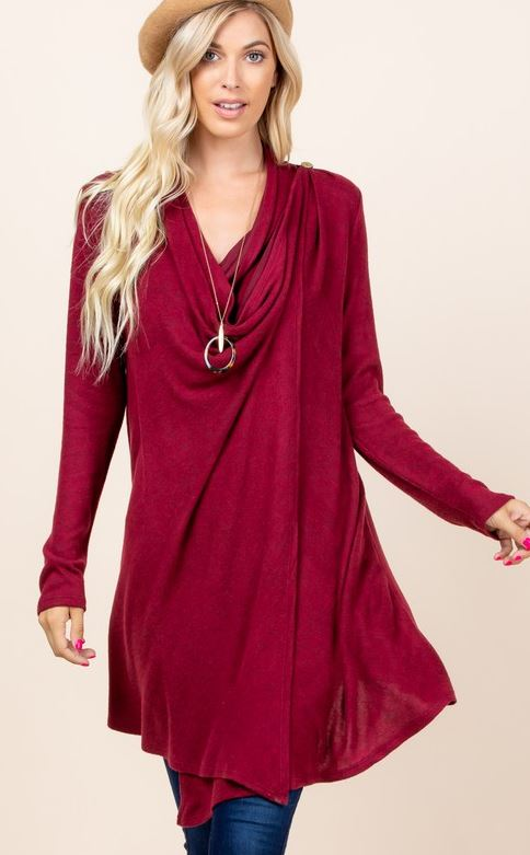 JUST LIKE THAT A SOFT CARDIGAN SWEATER IN BURGUNDY - REGULAR SIZE-----sale