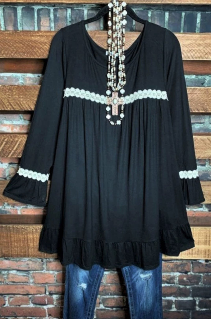 BELONG WITH ME LACE TUNIC COMFY IN BLACK