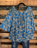 A LOVELY THOUGHT PAISLEYS PRINT TUNIC IN BLUE MIX------------sale