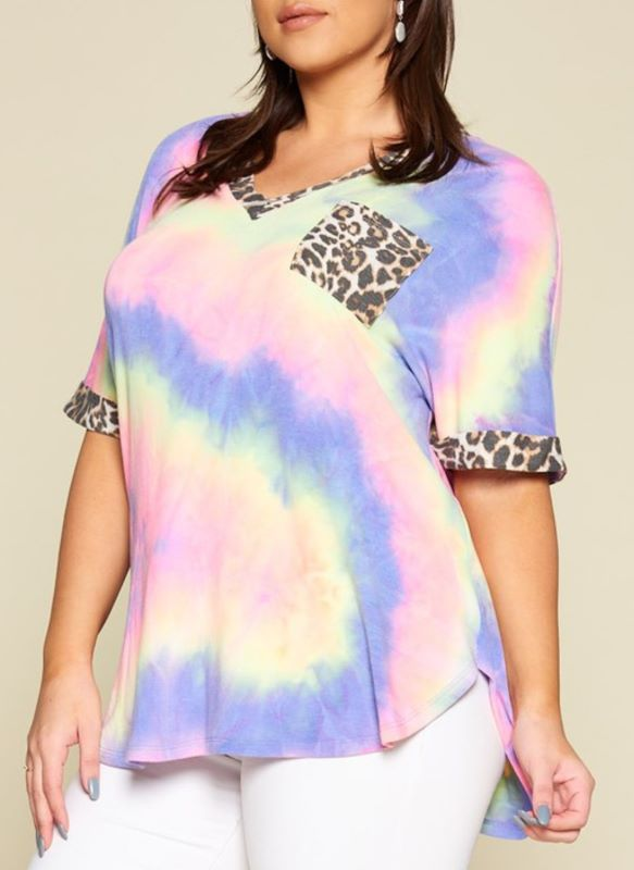 ALL FOR THE BEST TIE DYE NEON & LEOPARD TOP IN MULTI-COLOR------------sale