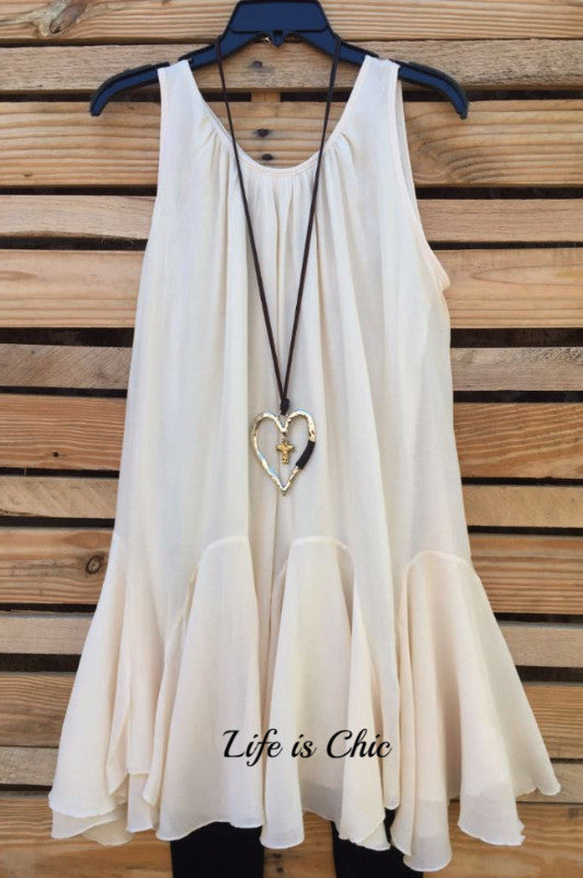 BOHO-HIPPIE SWING DRESS SLEEVELESS - BEIGE [product vendor] - Life is Chic Boutique