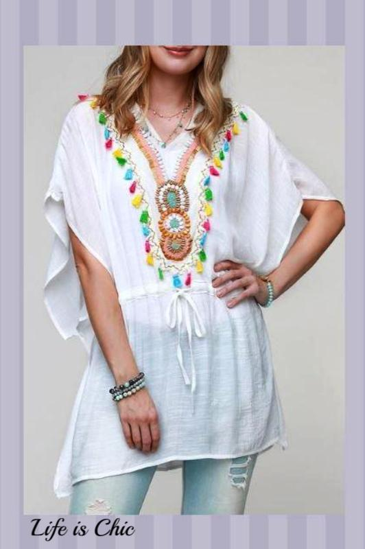AS CUTE AS THEY COME BALI GAUZY TOP IN WHITE -        sale