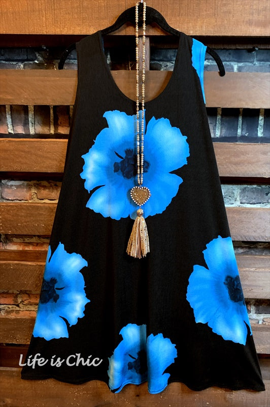 ALL GOOD THINGS DRESS BLACK & TURQUOISE