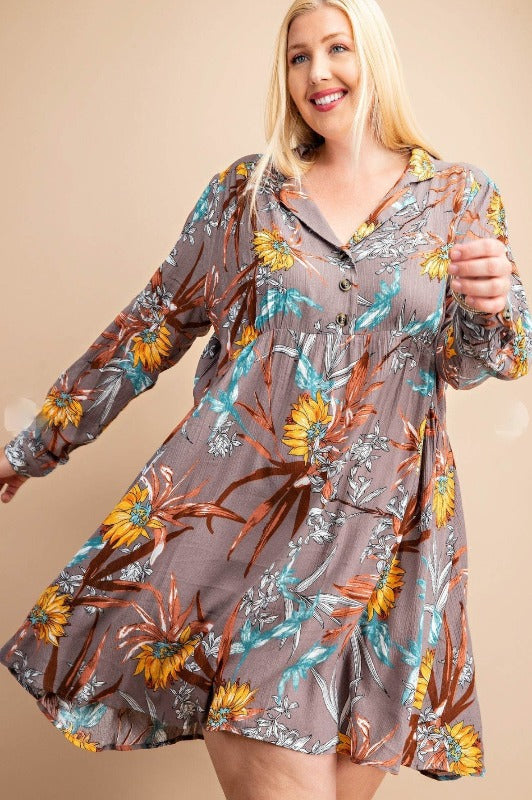 Feeling Groovy empire dress floral in Ash & Mix---------------sale