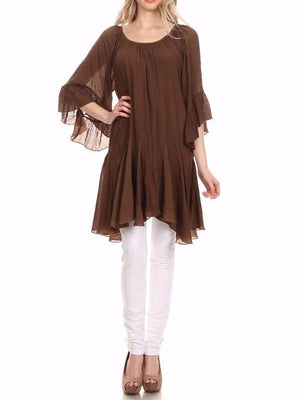 BOHO HIPPIE SWING OVERSIZED TUNIC IN BROWN-COFFEE [product vendor] - Life is Chic Boutique