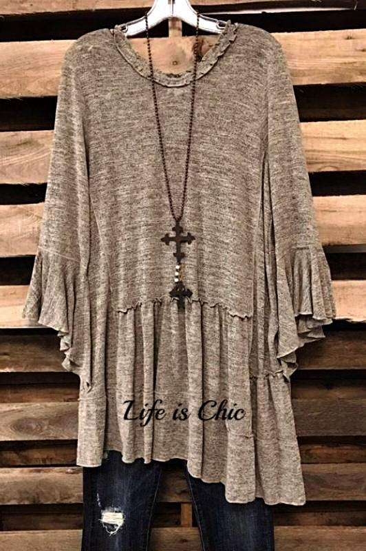 YORK MANHATTAN CASUAL CHIC TUNIC IN TAUPE [product vendor] - Life is Chic Boutique