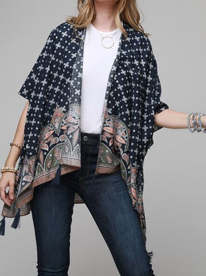 HOPE FOR THE BEST TASSEL PAISLEY KIMONO IN NAVY