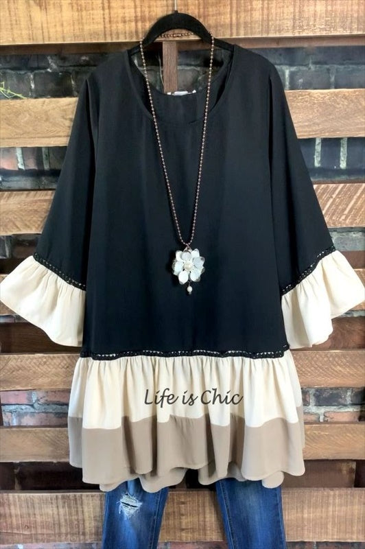 SWEET NEW DAY BOHO CHIC TUNIC OVERSIZED IN BLACK MIX----------sale