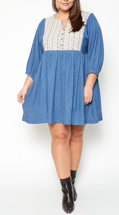 JUST REMEMBER TRIBAL EMBROIDERED DRESS - LIGHT DENIM---SALE [product vendor] - Life is Chic Boutique