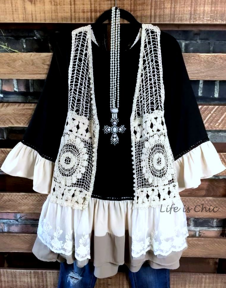 SWEET NEW DAY BOHO CHIC TUNIC OVERSIZED IN BLACK MIX-------------sale