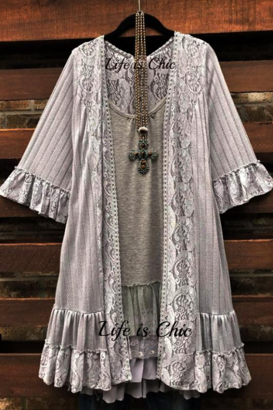 LIKE AN ENCHANTED DREAM LACE DUSTER CARDIGAN KIMONO - GRAY