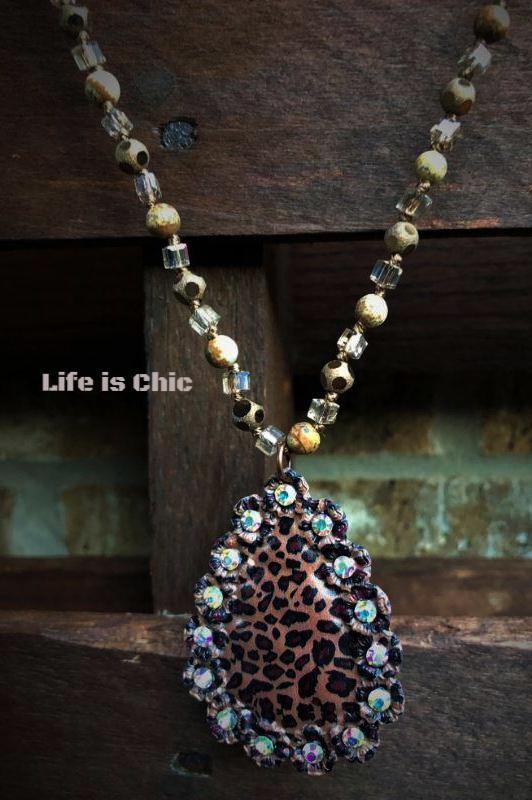 INTO THE WILD CRYSTAL LEOPARD TEAR DROP NECKLACE