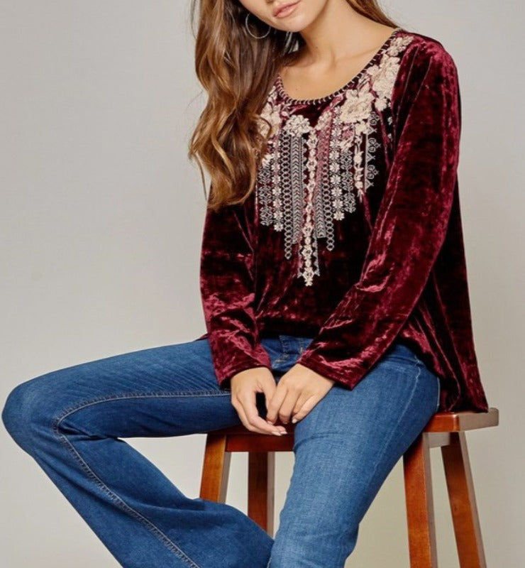 A PERFECT WISH VELVET EMBROIDERY TOP IN RED WINE