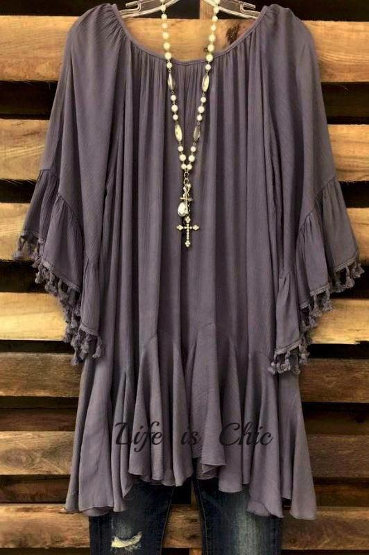 BOHO-HIPPIE FRINGE SWING DRESS IN GRAY [product vendor] - Life is Chic Boutique