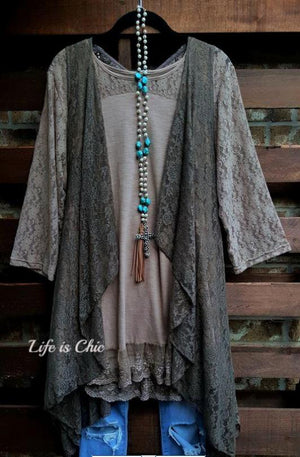 D'AMORE DREAM LACE VEST IN BROWN [product vendor] - Life is Chic Boutique