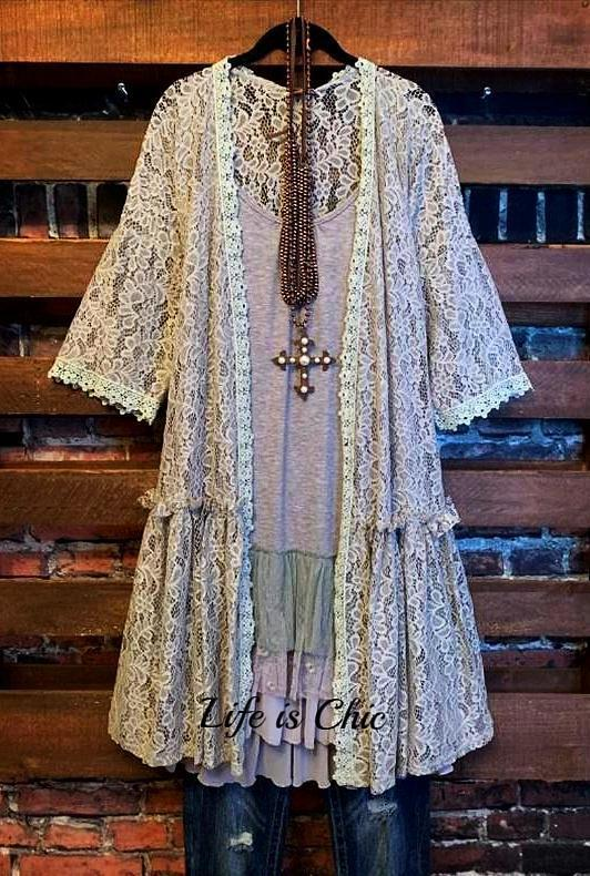 AIR OF ROMANCE LACE DUSTER CARDIGAN IN GRAY