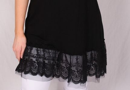 SO THIS IS LOVE LACE RUFFLE SLIP DRESS EXTENDER IN BLACK