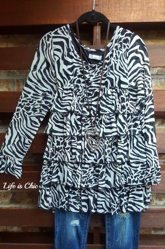 WILD FAB RUFFLED TOP IN BLACK & WHITE  - SALE [product vendor] - Life is Chic Boutique