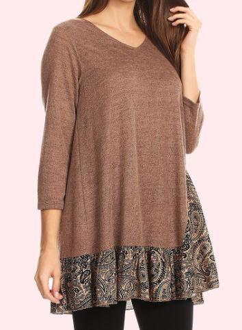A PERFECT DAY TEE TUNIC IN MOCHA
