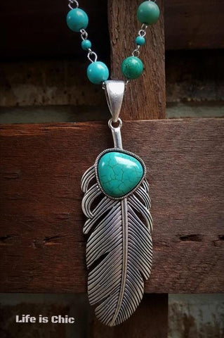BEAUTY BOUND TURQUOISE TASSEL NECKLACE