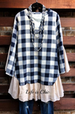 A CLASSIC MOMENT PLAID TOP IN NAVY BLUE MIX