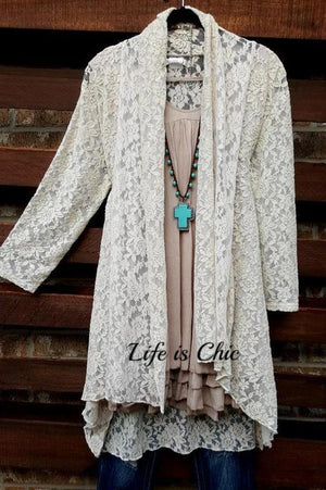 LE FLOUR ROMANTIC LACE DUSTER CARDIGAN