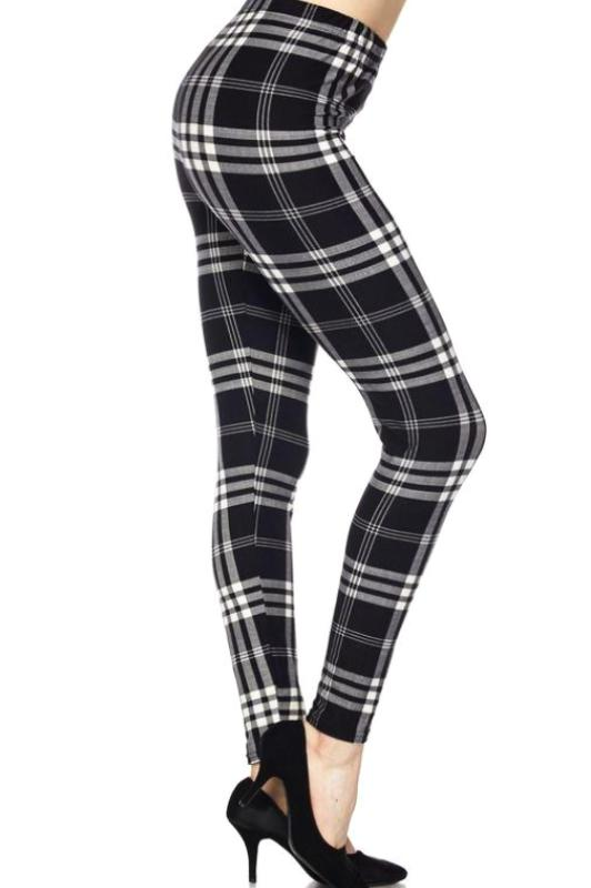 XPLUS PLAID CLASSIC BRUSHED SOFT ANKLE LEGGINGS IN BLACK MIX