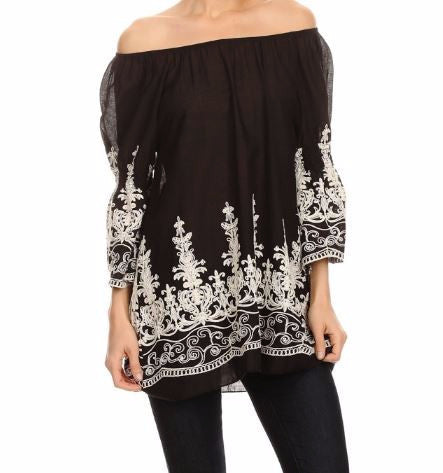 HEART AND SOUL COTTON EMBROIDERED TOP - BLACK [product vendor] - Life is Chic Boutique