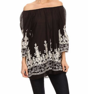 HEART AND SOUL COTTON EMBROIDERED TOP - BLACK - Regular Size - SALE [product vendor] - Life is Chic Boutique