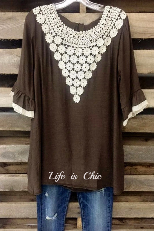 FLORAL CROCHET ROMANCE TOP IN BROWN [product vendor] - Life is Chic Boutique