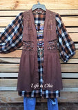 FALL MORNINGS MUSE PLAID BABY DOLL IN LILAC/PLUM MIX [product vendor] - Life is Chic Boutique