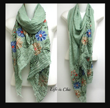 ESSENTIAL CHARM SOFT & LIGHTWEIGHT EMBROIDERED SCARF- SAGE GREEN [product vendor] - Life is Chic Boutique