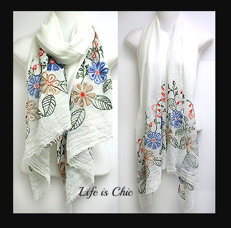 ESSENTIAL CHARM SOFT & LIGHTWEIGHT EMBROIDERED SCARF- WHITE [product vendor] - Life is Chic Boutique