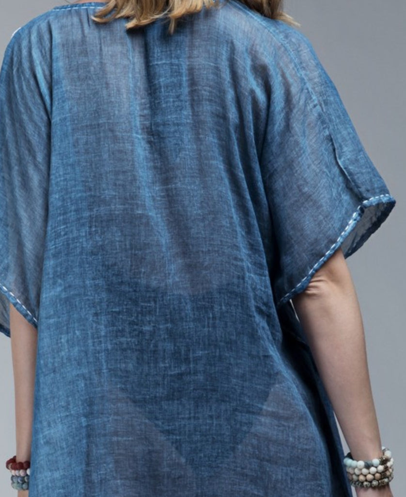 FEEL FREE HAND EMBROIDERED 100% COTTON TUNIC IN INDIGO