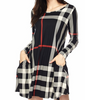 BELONG WITH ME PLAID DRESS LONG SLEEVE IN BLACK [product vendor] - Life is Chic Boutique