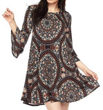 JUST FEELS RIGHT MEDALLION DRESS IN GRAY MULTI [product vendor] - Life is Chic Boutique