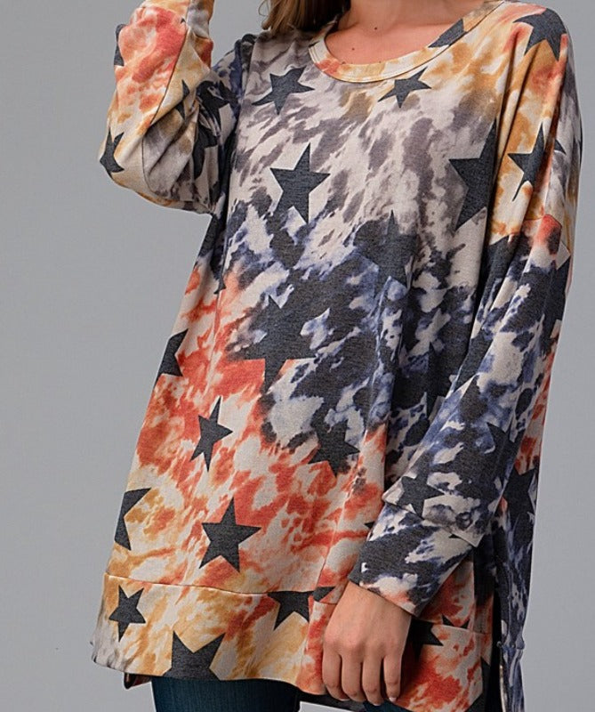 WRITTEN IN THE STARS TIE DYE OVERSIZED T-TUNIC IN MULTI-COLOR