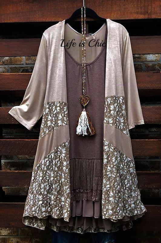 DAYS GONE BY LACE CARDIGAN IN TAUPE