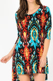 DAMASK BEAUTY DRESS IN RED & TURQUOISE  12-22