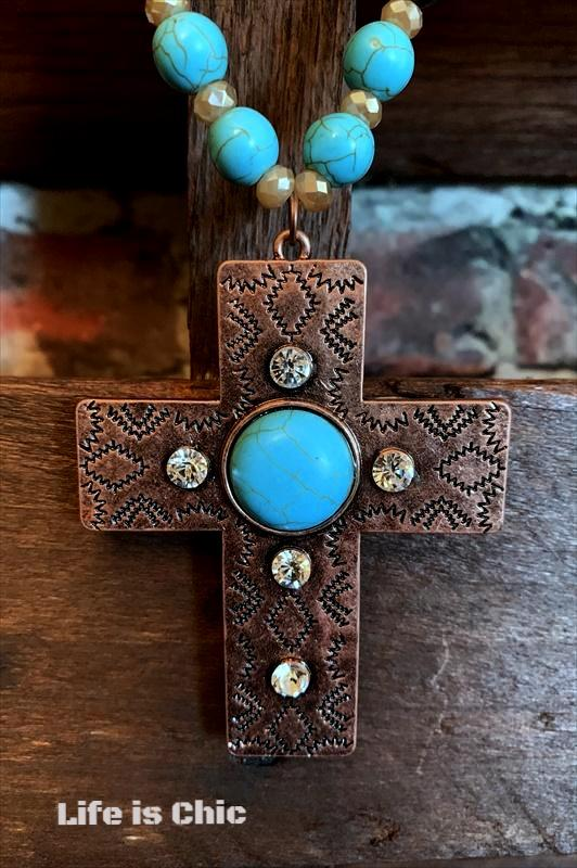 VICTORIAN INSPIRED CROSS NECKLACE IN TURQUOISE
