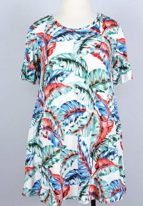 SEASIDE PALM LEAVES DRESS IN OFF WHITE